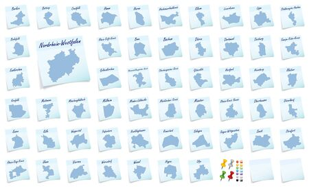 rhine westphalia: Collage of North Rhine-Westphalia with counties as sticky note