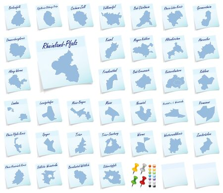 counties: Collage of Rhineland-Palatinate with counties as sticky note