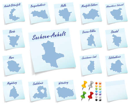 sticky note: Collage of Saxony-Anhalt counties as sticky note Stock Photo
