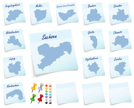 sticky note: Collage of Saxony with counties as sticky note Stock Photo