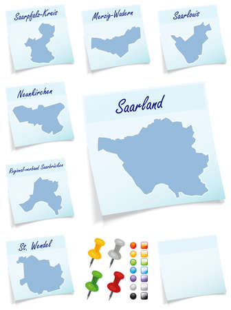 counties: Collage of Saarland with counties as sticky note
