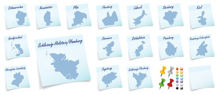 sticky note: Collage of Schleswig-Holstein with counties as sticky note Stock Photo