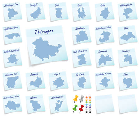 wallowing: Collage of Thuringia with counties as sticky note Stock Photo