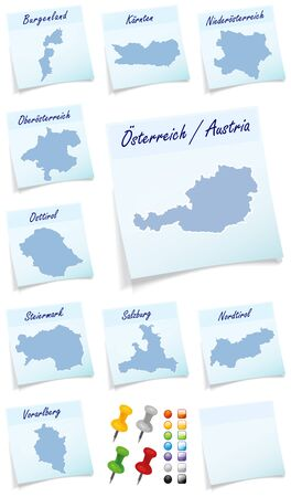 cantonese: Collage of Austria with the cantons as sticky note