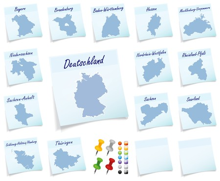 sticky note: Collage of Germany with provinces as sticky note Stock Photo