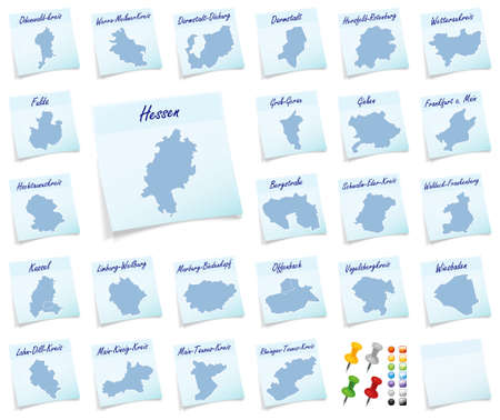 sticky note: ollage of Hesse with districts as sticky note Stock Photo