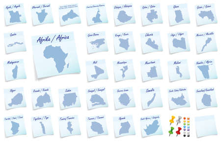 Collage of Africa as sticky note