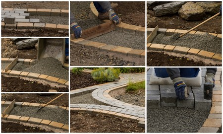 collage path construction Stock Photo