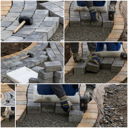 infrastructures: Collage paving work Stock Photo