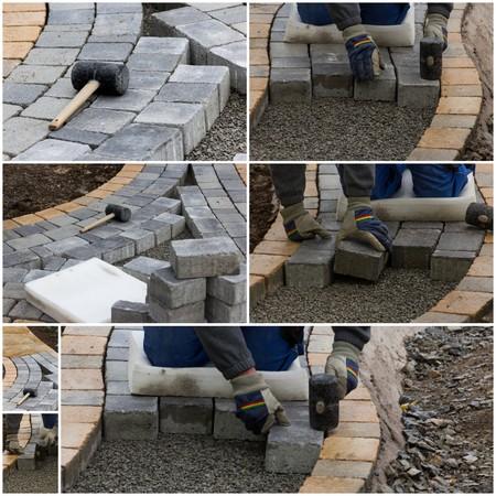 Collage paving work Stock Photo