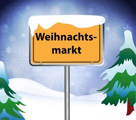 christmas market: Christmas Market place name sign Illustration