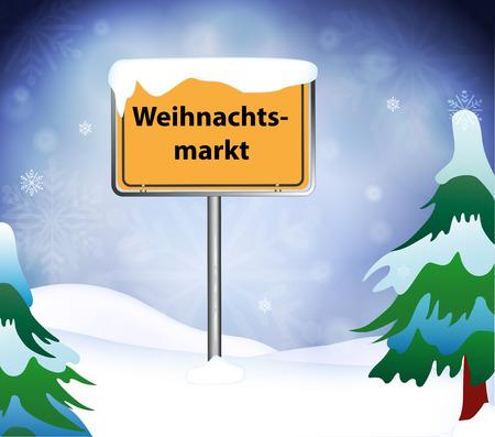 Christmas Market place name sign Illustration