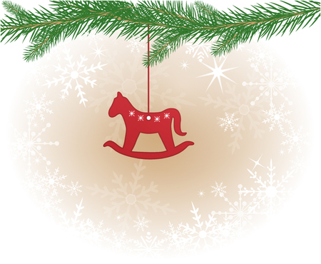 Christmas background with Rocking Horse