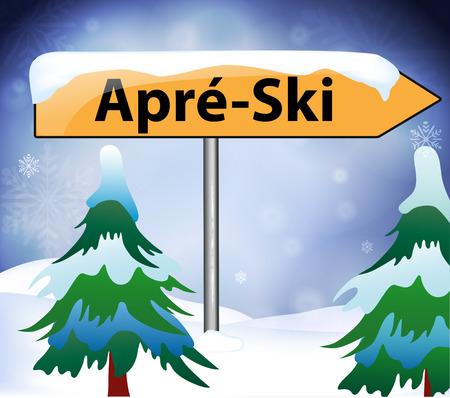 Après-Ski als Wegweiser Standard-Bild - 48862113