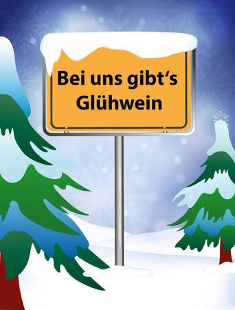 toboggan: place name sign hot wine in winter Illustration