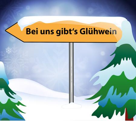Ortsschild Glühwein im Winter