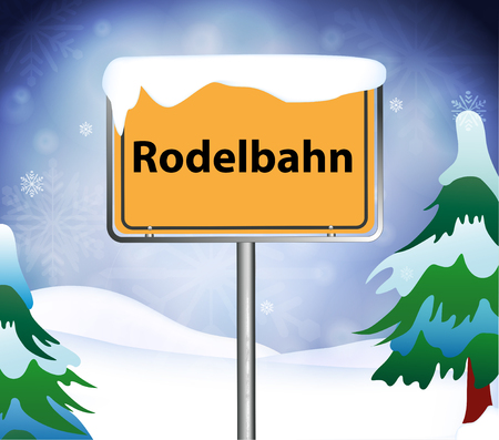 sledging: Toboggan run as a place name sign