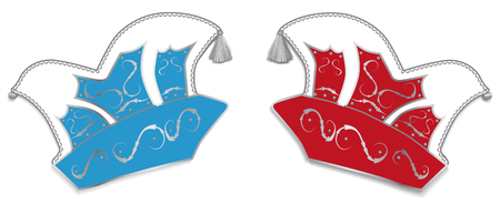 dunce cap: Fool caps in red and blue Illustration