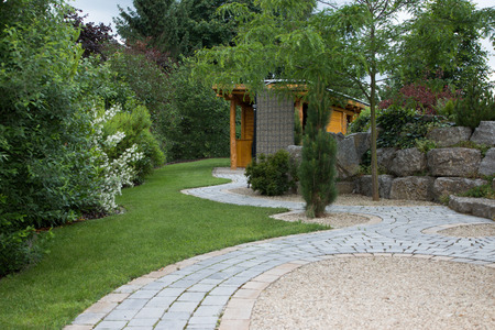 Garden with natural stone wall