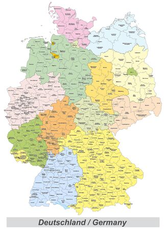 Germany map with counties landmarks and inscriptions 免版税图像