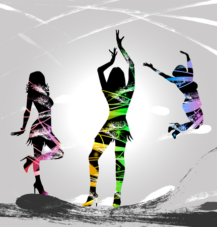 Party night with dancing silhouettes Stock Photo