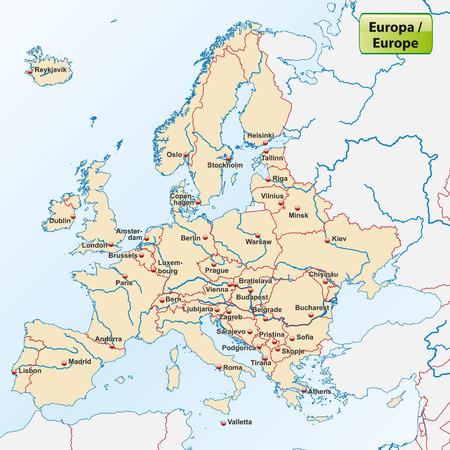 Map of Europe with capital cities
