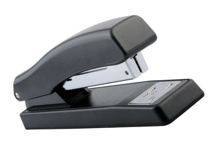 Angled View of a black stapler Isolated on a solid white background.