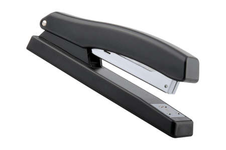 Angled view of a black stapler isolated on a white background.