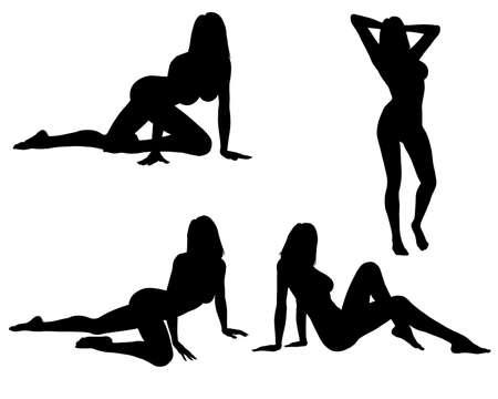 mujer arrodillada: De silueta de mujer sexy  Foto de archivo