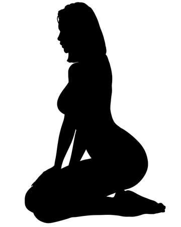 mujer arrodillada: Una silueta de una mujer sexy posando, aislado en un fondo blanco s�lido.  Foto de archivo