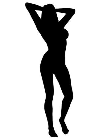 attractive female: A silhouette of a sexy woman posing, isolated on a solid white background.