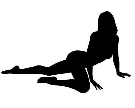 A silhouette of a sexy woman posing, isolated on a solid white background.