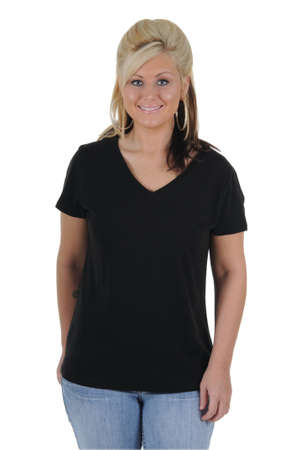 A pretty woman wearing a plain black tee shirt, isolated on a solid white background.