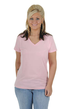 A pretty woman wearing a plain pink tee shirt, isolated on a solid white background.