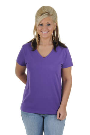 A pretty woman wearing a plain purple tee shirt, isolated on a solid white background.