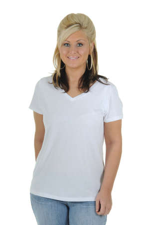 A pretty woman wearing a plain white tee shirt, isolated on a solid white background.