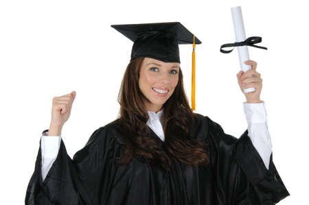 A attractive woman graduate wearing a black cap and gown with gold tassel, excited about her bright future. Isolated on a solid white background. photo