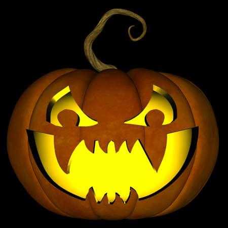 Una ilustración de un espeluznante de Halloween jack o linterna, aislado en un fondo negro. Foto de archivo - 10775856
