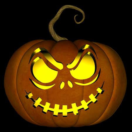 Una ilustración de un espeluznante de Halloween jack o linterna, aislado en un fondo negro. Foto de archivo - 10775861