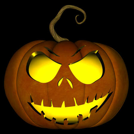 A illustration of a spooky Halloween jack o lantern, isolated on a black background.