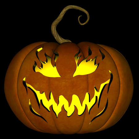A illustration of a spooky Halloween jack o lantern, isolated on a black background. illustration