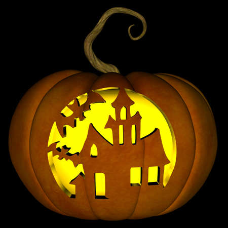 A illustration of a spooky haunted house Halloween jack o lantern, isolated on a black background. Foto de archivo
