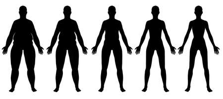 bulimia: A front view illustration of 5 female silhouette