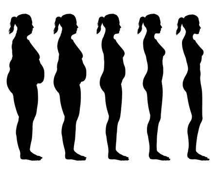 bulimia: A side view illustration of 5 female silhouette