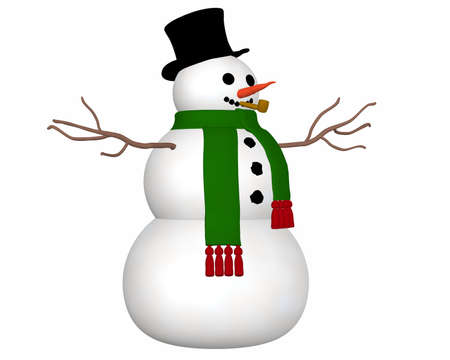 angled view: A angled view illustration of a snowman wearing a black top hat and green scarf and a carrot nose.