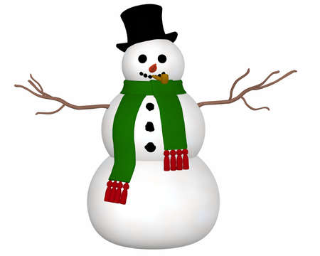 A front view illustration of a snowman wearing a black top hat and green scarf and a carrot nose.    Foto de archivo