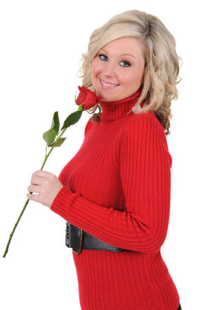A charming young woman holding a single long stem rose. Valentine Stok Fotoğraf