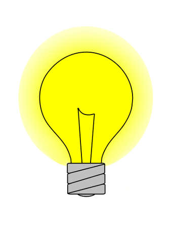 A graphic of a light bulb with a yellow glow. Isolated on a solid white background.