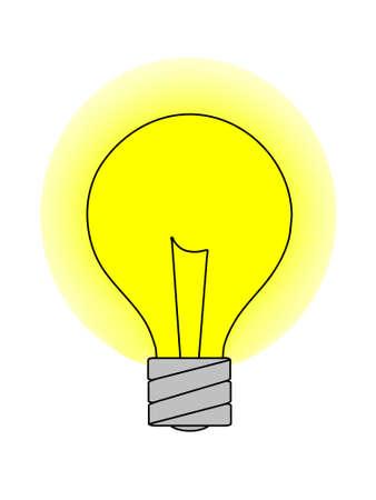 Un gráfico de una bombilla de luz con un brillo amarillo. Aislado en un fondo blanco sólido. Foto de archivo - 12285730