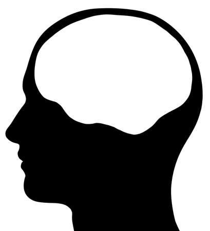 male profile: A graphic of a male head silhouette with a white brain area. Isolated on a solid white background.